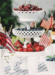 Love this idea...stack white footed bowls on top of one another and fill with red and blue fruit...simple and stunning
