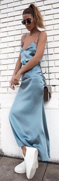 #spring #summer #highstreet #outfitideas |Blue Satin Maxi Slip Dress
