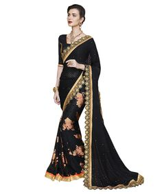 Buy Now Black Fancy Embroidery Brasso Party Wear Saree With Dhupian Blouse only at Lalgulal.com. Price :- 2,552/- inr. To Order :- http://goo.gl/Ix1aXn. COD & Free Shipping Available only in India