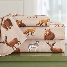 Cotton Novelty Printed Wildlife Bedding Sheet Set   Collections Etc. 100 Cotton Sheets, Cotton Sheet Sets, Bed Sheets, Flat Sheets, Deer Wall Art, Wildlife Decor, Collections Etc, Woodland Forest, Wall Decor Set