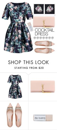 """Spring - Flower Power"" by karineminzonwilson on Polyvore featuring Relaxfeel, Yves Saint Laurent, Miu Miu, Polaroid, Spring, floralprint, cocktaildress, brunch and springformal"