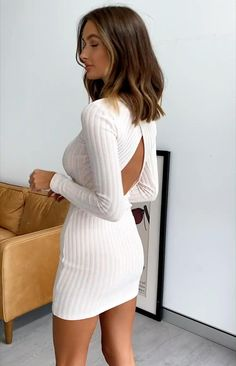 Wear the Mary Jean Long Sleeve Knit Dress out when it starts to cool down! This mini dress features cute AF knitted pointelle fabric, long sleeves and cross over open back. Tight Dresses, Sexy Dresses, Nice Dresses, Short Dresses, Dresses With Sleeves, Long Sleeve Short Dress, Sexy Outfits, Curvy Outfits, Fashion Outfits