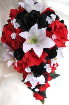 Wedding bouquet Bridal Silk flowers Cascade BLACK RED WHITE Lily Decorations Bridesmaids boutonnieres Corsages 21 pc package via Etsy Black Red Wedding, Red And White Weddings, Red Bouquet Wedding, Wedding Flowers, Black Bouquet, Bridal Bouquets, White Bouquets, Prom Flowers, Perfect Wedding