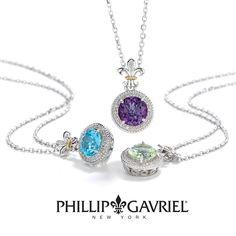 Topaz, Amethyst and Peridot all make for beautiful Fleur de Lis necklaces from Phillip Gavriel.