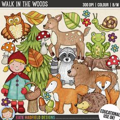 WALK IN THE WOODS (Educational Use Version) by Kate Hadfield. Walk in the Woods includes 23 autumnal woodland / forest themed digital illustrations created from my original hand painted artwork! Each design comes supplied as a full colour png, as well as black and white outline versions (in png and jpeg formats).
