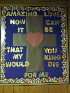 Easter bulletin board for church entry way