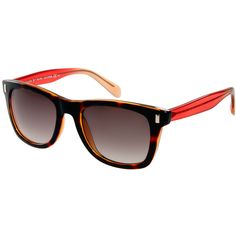 Marc By Marc Jacobs Red And Tortoise Shell Wayfarer Sunglasses ($167) ❤ liked on Polyvore