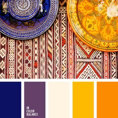 terrific colo palette of violet and yellow orange/ Цветовая палитра Scheme Color, Colour Pallette, Colour Schemes, Color Patterns, Color Combinations, Moroccan Colors, Moroccan Style, Moroccan Decor, Moroccan Bedroom