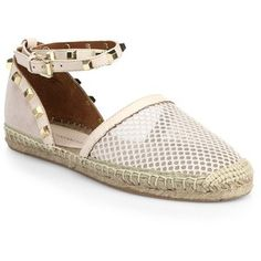 Rebecca Minkoff Gilles Studded Mesh and Suede Leather Espadrilles
