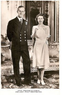 1947. Princess Elizabeth and Philip Mountbatten pose for a photo at Buckingham Palace in London on July 9, 1947, the day their engagement was officially announced.