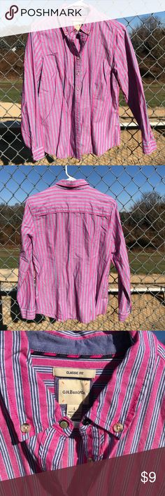 G.H. Bass blouse Pink, white, and denim-blue stripes make this shirt whimsical and classy at the same time. It features tortoise shell buttons and feels like soft linen. It's only been worn once or twice and is ready for a space in your closet! Size large by G.H. Bass & co. 42LTOP-42LRG-WL03 Bass Tops Button Down Shirts