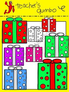 Colorful Christmas Clip Art from Teacher's Gumbo on TeachersNotebook.com - Colorful Christmas Trees, Ornaments, and Presents
