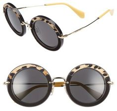 Miu Miu 48mm Round Sunglasses Óculos De Sol Redondos, Miu, Arredondamento b51ce0178e