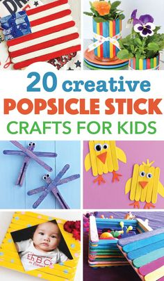 These 20 ideas for popsicle stick crafts for kids are super fun and creative. Your kids will love creating these fun crafts! Popsicle Stick Crafts For Kids, Crafts For Kids To Make, Popsicle Sticks, Craft Stick Crafts, Craft Ideas, Kids Crafts, Craft Sticks, Activity Ideas, Preschool Crafts
