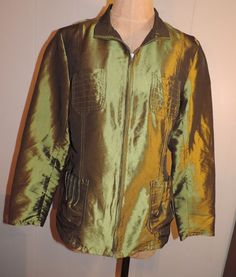 Woman's Chico's Sz 1 (6-8) Light Weight Olive Green Metallic Zip Fashion Jacket #Chicos #Collared