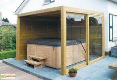 Tuinhuis / blokhut model Exterior 350 x 350 cm / 28 mm van Gardival Privacy Walls, Bay Window Exterior, Swim Spa, Hot Tub Garden, Pergola Plans, Backyard Inspo, Jacuzzi, Tub Enclosures, Outdoor Inspirations