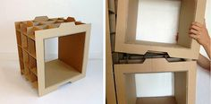 Modular Cardboard-Recycling Bookcases