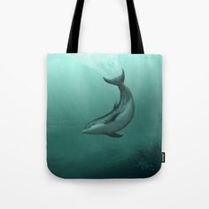 "Tote Bag ••• ""Siren of the Lagoon"" Indian River Lagoon bottlenose dolphin art by Amber Marine ••• AmberMarineArt.com •••"