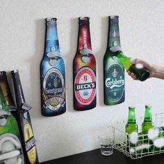 American Retro Beer Bottle Opener Cafe Bar Restaurant wall Pendant Home Furnishing wall mural wall. Click visit to buy #kitchen #tool #KitchenTool