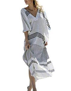 fe4a90f8c9 Luckygogo Women's Swimwear Cover up Caftan Beach Long Dress Kaftans  Swimsuit Cover up Print Chiffon Rayon