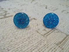 Blue Glitter Button Earrings Handmade by DeniseDoesCouture #Handmade #Stud