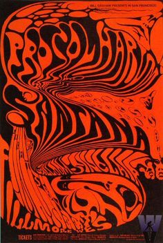 Procol Harum and Santana at The Fillmore  postcard 11/68. Art by Lee Conklin