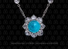 Paraiba and rose cuts necklace by leon mege