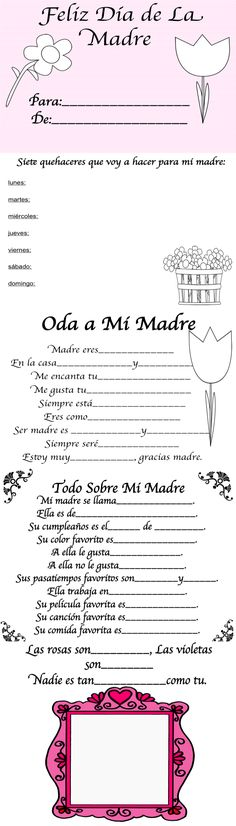 A fun sheet to practice your Spanish, and to celebrate mothersday, which is today in Guatemala! Bilingual Classroom, Bilingual Education, Classroom Language, Spanish Classroom, Ap Spanish, Spanish Culture, How To Speak Spanish, Learn Spanish, Spanish Teaching Resources