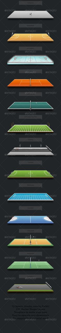Sport Playgrounds 3d, american football, badminton, ball, basketball, court, cycling, field, football, formula 1, handball, ice hockey, illustration, perspective, playing, racing, running, soccer, sport, sports, table tennis, tennis, track, vector, volleyball, waterpolo, Sport Playgrounds