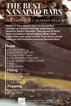 How to make The Best & Easiest Nanaimo Bars Ever! This sweet, chocolatey delicacy melts in your mouth and is a hit every time! No Bake Treats, No Bake Desserts, Just Desserts, Delicious Desserts, Dessert Recipes, Delicious Chocolate, Health Desserts, Dinner Recipes, Nanaimo Bars