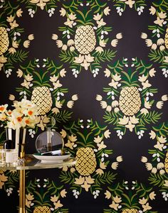 SO in love with Hygge & West's pineapple wallpaper in ebony!!! This would be perfect in my Master Bedroom!  #HyggeAndWestPinToWin