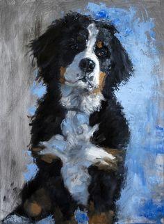 "Irie - Bernese Mountain Dog - Oil Portrait 14x18"" SOLD"