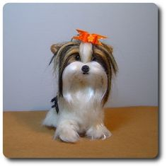 Custom Dog needle felted Biewer Yorkshire by DreamwoodArtDesigns, $142.00