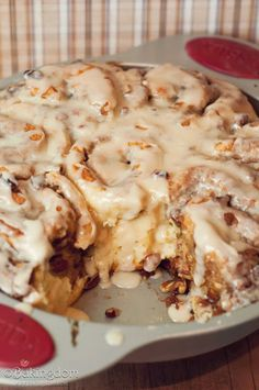 Easy Maple Pecan Cinnamon Rolls - I've made these twice this week!  They look and taste like yeast cinnamon rolls, but they don't use yeast and are super fast and easy.
