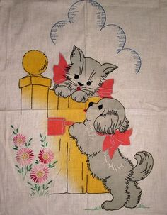 Vintage Vogart Tinted Embroidered Dog Cat Picket Fence Crib Cover Quilt Top | eBay