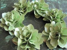 Lime Green Shimmer Paper Flowers  - Set of 6