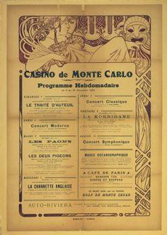 Casino de Monte Carlo, 1921 - original vintage Art Nouveau poster by Alphonse Mucha listed on AntikBar.co.uk