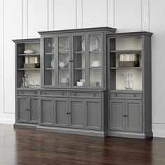 Cameo Grey Glass Door Wall Unit w/Open Bookcases - Crate and Barrel Bookcase Wall Unit, Open Bookcase, Bookcase Storage, Storage Cabinets, Wall Units, Storage Drawers, Display Cabinets, Kitchen Cabinets, China Cabinets