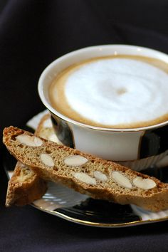 Love this cup and the biscotti looks crunchy and delicious. Ready for a dunk!
