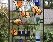 "California Poppies Over Geometric 12"" x 24""--Stained Glass Window Panel"