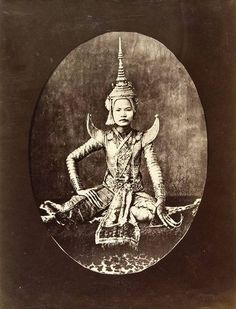 "Anonymous ~ Lakon dancer,Siam, c.1870        Lakon Nai, or ""The Theatre of the Women of the Royal Harem"", was performed exclusively by royal concubines for the pleasure of the Thai King and visiting luminaries. It was a dramatic form using themes from the Hindu classics and the Jarvanese Panji cycle.    Note that this practice still exists. A few years ago I took a workshop with a Cambodian dancer whose fingers were disfigured from the early training this art requires."