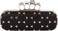 Alexander McQueen /Black-Optical-Stud-Skull-Knucklebox-Clutch-