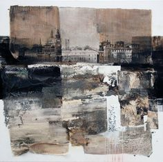 Appuntamento by Ester Maria Negretti Collage Kunst, Collage Art Mixed Media, Abstract Landscape Painting, Landscape Paintings, Abstract Art, Urban Landscape, Landscape Art, Urbane Kunst, Cardboard Art