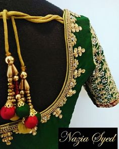 Emerald green Kundan work blouse to pair with a red silk saree as a contrast blouse !! Beautiful green color designer blouse with floret lata design hand embroidery kundan work. 23 March 2018