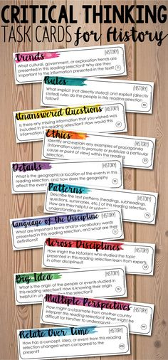 Add depth and complexity to your instruction with these Critical Thinking History/Social Studies Task Cards! 88 task cards that can be used with any textbook and with any topic of history. You will be blown away by the discussions your students will have! Social Studies Projects, 6th Grade Social Studies, Social Studies Classroom, Teaching Social Studies, Teaching History, Teaching Resources, History Education, Art Education, World History Classroom