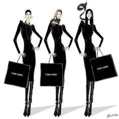 Tom Ford 2012 Classic Black Dress illustration Tiffany La Belle Art & Illustration