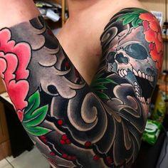 Japanese tattoo sleeve by @buddaruma_horibodai.  #japaneseink #japanesetattoo #irezumi #tebori #colortattoo #colorfultattoo #cooltattoo #largetattoo #armtattoo #tattoosleeve #skulltattoo #flowertattoo #peonytattoo #blackwork #blackink #blacktattoo #wavetattoo #naturetattoo