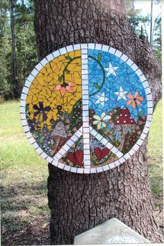 by Suzanne Grand Mosaic Madness, Mosaics, Peace, Stone, House Styles, Outdoor Decor, Projects, Home Decor, Log Projects