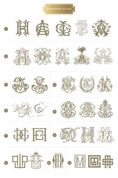 here are examples of the different styles of monograms i have