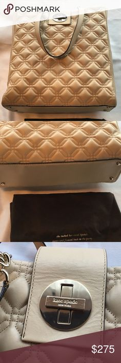 "New Authentic Kate Spade Marlene Bag in Cashew Tan, or ""cashew"" new with tags Kate Spade Marlene quilted tote bag. Three inside large pockets, one with zip closure.  Also zipper side pocket and pockets for cell phone.  New condition. kate spade Bags"